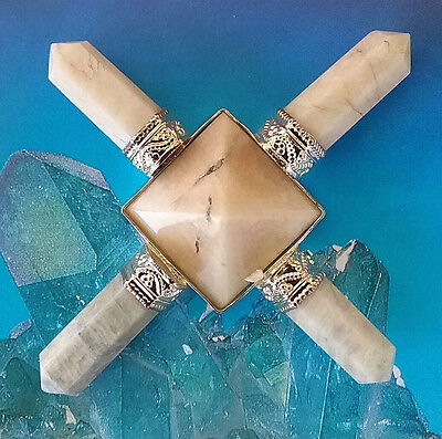 Solid Moonstone Crystal Pyramid  Energy Generator With 4 Moonstone Points