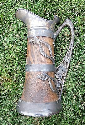 1905 Quad Plate Overlay on Wood Beer Stein Pitcher Tankard St. Louis Silver Co