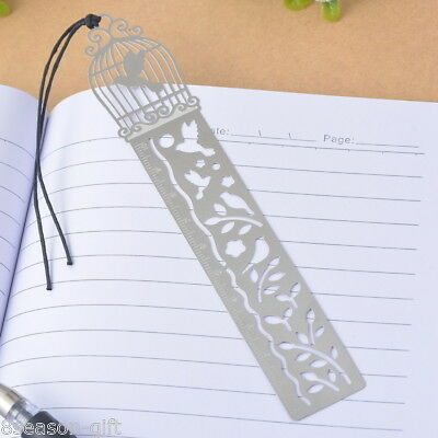 1PC Bookmarks Birdcage Bird Ruler Wax Rope Hollow Office Supplies Reading Gift