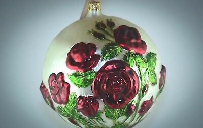 RARE Slavic Treasures Glass Rose Holiday Ornament - Large 6""