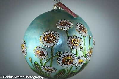 RARE Slavic Treasures Glass DAISY Flower Holiday Ornament - Large 6""