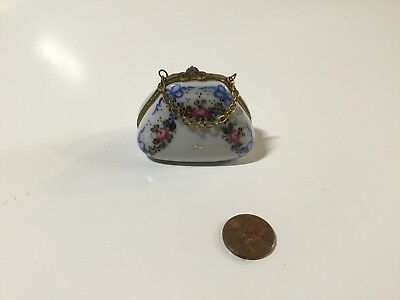 Limoges Flower Decorated Purse Figural Trinket Pill Box