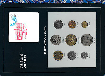 Coin Sets of All Nations Mexico 1987-1989 UNC 1,500 Peso 1987 1000 Pesos 1989
