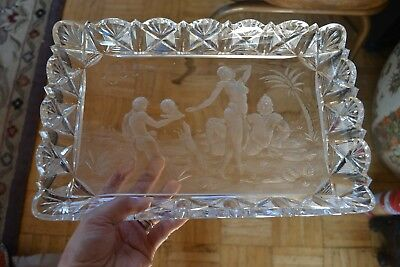 Cut Glass Biblical Scene Tray