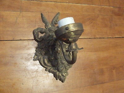 Antique Victorian Brass Bow Floral Wall Sconce Light Fixture