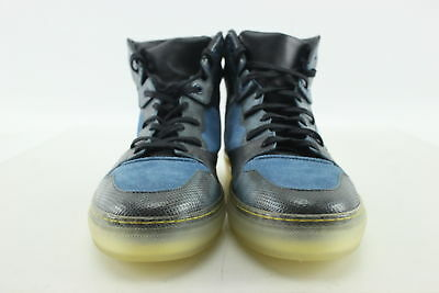 Authentic Balenciaga Paris Size 10 Blue Suede & Leather High-Top Sneakers Italy