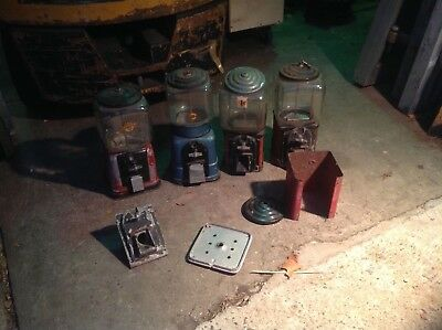Coin op operated topper Gumball machines and parts lot