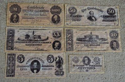 Confederate Replica Currency Money Antiqued Battle Civil War Reproduction