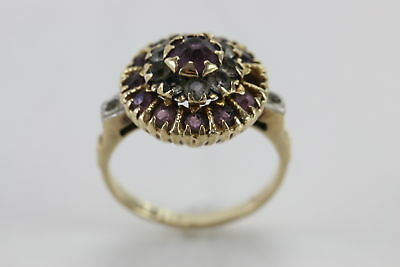 Antique Turn of the Century British Rose Cut Ruby Ring 10k Yellow Gold