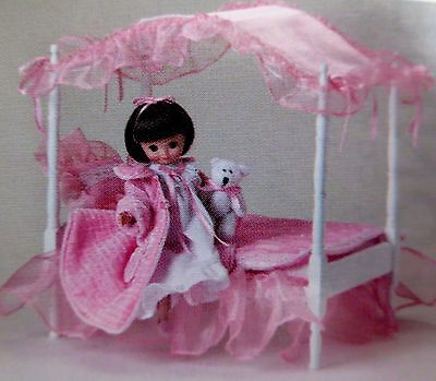 """4"""" Poster Canopy Bed INCLUDES EXCLUSIVE TINY BETSY MCCALL 8"""" doll--NEW PINK!! NR"""