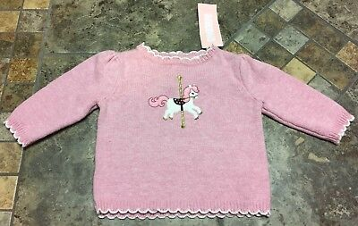 NWT Gymboree Infant Girl Sweater - Pink Carousel Horse -  Infant 3-6 Mos Months