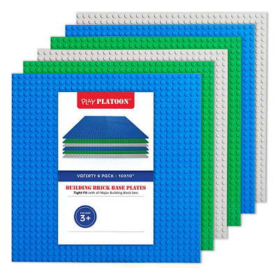"Building Bricks - 10"" x 10"" Baseplate - Variety Pack (6 Pack) Compatible with al"