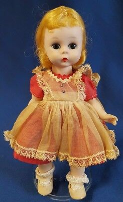 "Vtg Mme Alexander Blonde Doll 8"" Alexander-kins SL Pinafore Red Dress 1953-54"