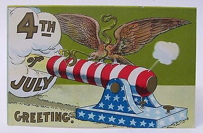 circa 1909 EAGLE ATOP PATRIOTIC CANNON 4th of July embossed postcard