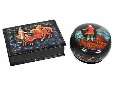 Two Russian Vintage Handpainted Laquer Trinket Boxes Signed. Rare Items
