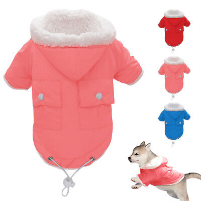 Chihuahua Small Dog Clothes Winter Fleece Lined Dog Hoodie Coat Snowsuit Jacket