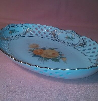 Vintage Porcelain Hand Painted Yellow Roses Lace Trimmed Candy Dish Numbered