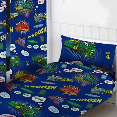 """Trains Readymade Curtains Childrens Bedroom 72"""" Drop Blue"""