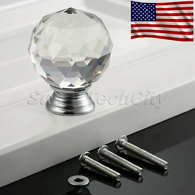 40mm Round Clear Crystal Glass Knobs Door Handles Cabinet Cupboard Dresser Pull