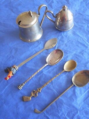 2 mustard pots ;4 vintage spoons golf club, Egyptian face & head dress, rooster