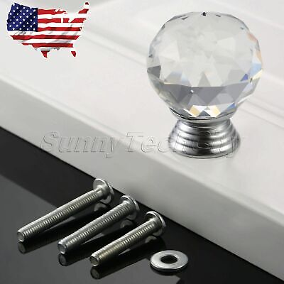Clear Knob Crystal Glass Pull Chest Cabinet Drawer Closet Door Handle Round 30mm