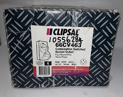 Clipsal 66CV463 Switched Socket Outlet, 500V, 63A, 4 Round Pin, IP66 (Box of 1)