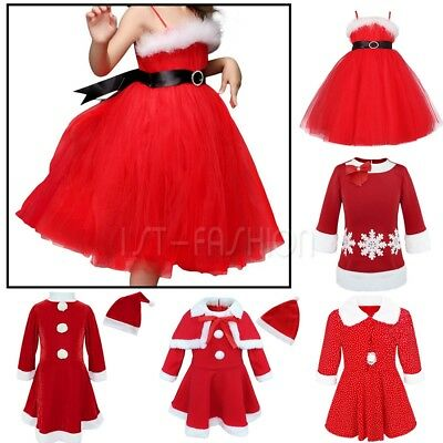 Mrs Santa Christmas Dress Hat Outfit Girls Kids Xmas Party Fancy Costume Clothes