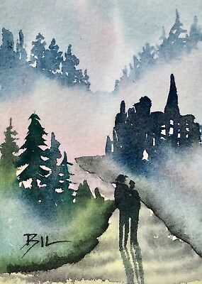 ACEO Original Art Watercolour Painting by Bill Lupton  - Into the Mist