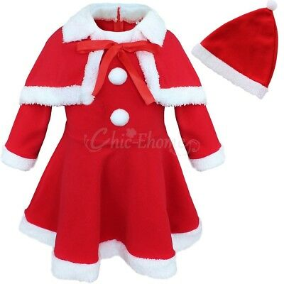 Baby Girls Xmas Santa Claus Elf Gift Costume Top Dress with Shawl Hat Outfit Set