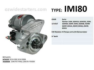Yanmar starter motor suit various 1 cyl, 2 cyl, 3 cyl engines from 1980 on