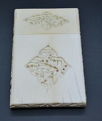 RARE Antique 19th C Cantonese Chinese Carved Card Case Figures & Oriental Garden