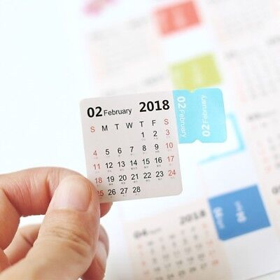 2018 Monthly Calendar Index Tabs Stickers / label Marker Notes 2 Sheets / 15 Tab