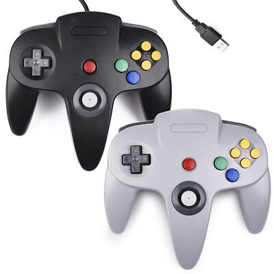 Black Gray New Wired N64 USB Controller For PC Windows & Mac OS Computer Game