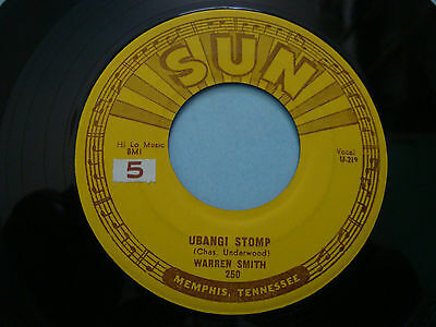 "Warren Smith Ubangi Stomp/Black Jack David 7"" 45 250 1956 Original Sun Record"