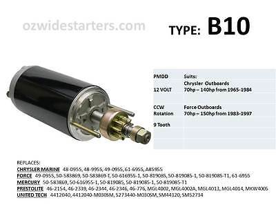 Chrysler / Force starter motor suits 70hp-150hp from 1965-1997.