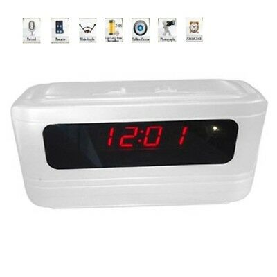720P HD Mini Table Clock Spy Hidden Camera With Motion Detection Remote Control