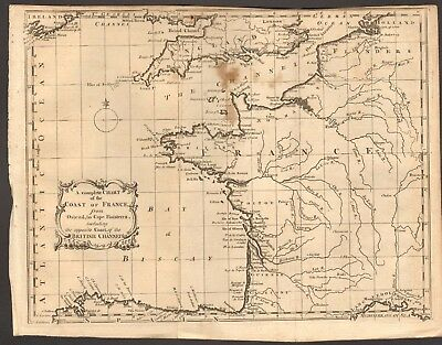 1758 Antique Map- A Complete Chart of the Coast of France, Ostend to Finistere