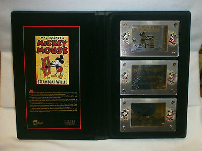 Disney Showcase Mickey Mouse In Steam Boat Willie 24K Gold 3 Card Set