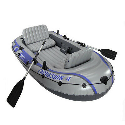 Intex 5 Person Safe Inflatable Boat Water Sports River Fishing Dinghy Raft Set
