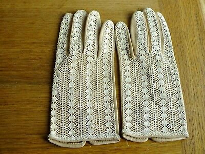 Ladies Vintage Crochet & Soft Leather Gloves