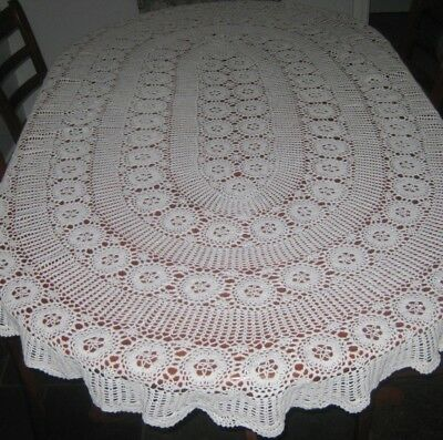 Vintage Crocheted Lace Tablecloth ~ Cotton ~ White ~ Oval