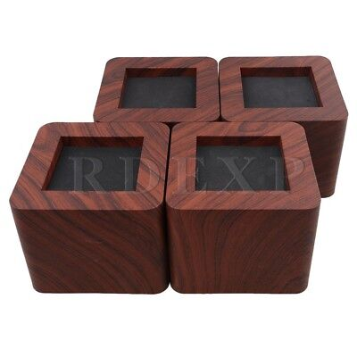 4pcs Coffee 10.7x8.7cm Square Shape Bed Tbale Risers Furniture Lifts