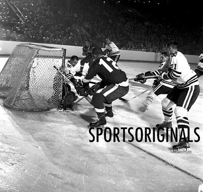 Original 120mm B&W Neg of Chicago Blackhawks vs Detroit Red Wings Playoff Game