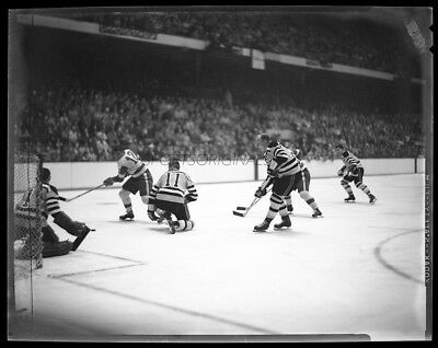 "Original 4""x5"" B&W Negative of the Boston Bruins vs the Detroit Red Wings - 1957"