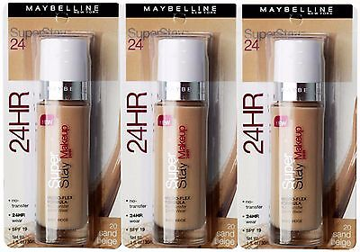 3 x MAYBELLINE SUPERSTAY 24HR FOUNDATION #SAND BEIGE - SUPER DEAL!!