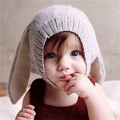 Winter Baby Rabbit Ears Knitted Hat Toddler Kids Wool Cap For Children 0-3YearHG