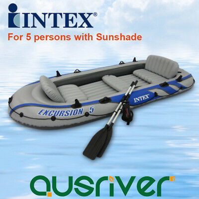 Intex 5 Person Safe Inflatable Boat Water Sports River Fishing Dinghy Raft