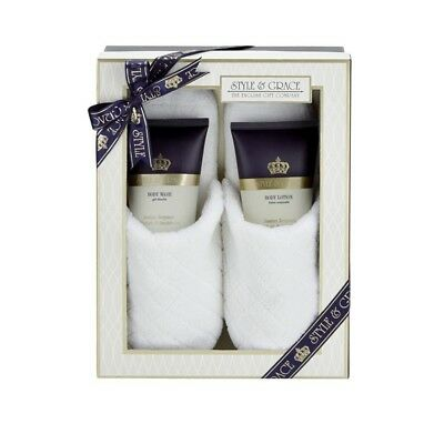 Style & Grace Signature Slipper Gift Set - Includes body wash & lotion