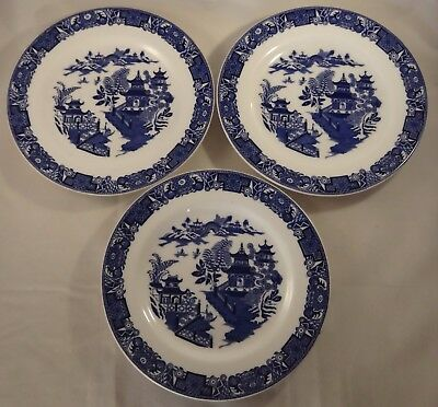 """3 Antique Royal Worcester Blue & White Willow Pattern 8"""" Cake Side Plates c1900"""