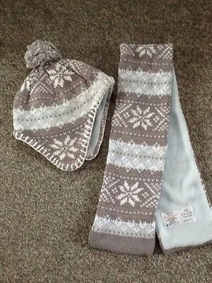 Next Fairisle knit Hat And Scarf Set Fleece Lined Size 3-5 Yrs